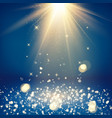 scene with glitter and bokeh effect light rays vector image