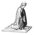 sculpture was shows a kneeling figure vintage vector image vector image