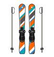 ski equipment with ski board and ski poles vector image