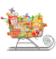 Supermarket Sleigh with Gifts vector image vector image