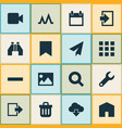 user icons set with calendar remove repair and vector image