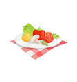 vegetable plate isolated icon cartoon style vector image