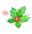 watercolor of mistletoe vector image vector image