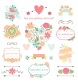 Wedding collection of decorations flowers ribbons vector image vector image