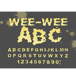 Wee-wee ABC Yellow liquid font piss typography