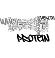 whey protein supplements text word cloud concept vector image vector image
