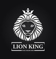 white lion king head mascot on black background vector image vector image