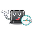 with clock f9 button installed on cartoon keyboard vector image vector image