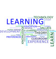 word cloud learning vector image vector image
