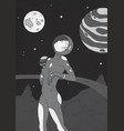young pretty woman dressed in spacesuit standing vector image vector image