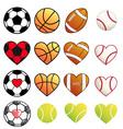 sport balls and hearts set