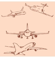 Aircraft Pencil sketch by hand Vintage colors vector image vector image