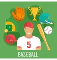 Baseball game icon with batter and sporting items vector image vector image