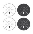 billiard labels set with crossed cues vector image