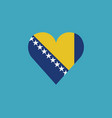 bosnia and herzegovina flag icon in a heart shape vector image vector image