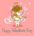 Card for Valentines Day with cupid vector image vector image
