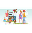 cartoon of interracial marriage and lesbian family vector image vector image
