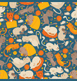 cats funny cartoon characters in seamless pattern vector image