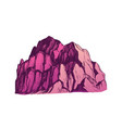 color peak of rocky mountain landscape vintage vector image vector image