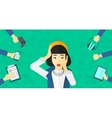 Desperate woman with gadgets vector image vector image
