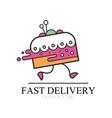fast delivery logo design food service delivery vector image