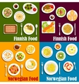 Finnish and norwegian seafood dishes icon vector image vector image