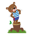 funny strong little bear vector image vector image
