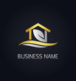 gold eco house nature logo vector image