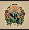 green iguana huge reptile animal with flowers vector image vector image
