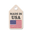 hang tag made in usa with flag vector image vector image
