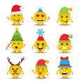 Holiday emoji icon set for christmas and new year vector image