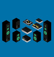 home stereo flat music systems set isometric vector image