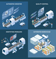 intelligent manufacturing isometric design concept vector image vector image