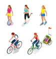 Isometric Bicycle Family Cyclists Roller Skating vector image