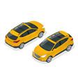isometric car yellow hatchback 4-door icons car vector image vector image