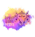 lord ganesha in line style watercolor background vector image vector image