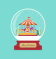 merry christmas glass ball with church in winter vector image