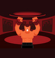 mix martial art fighter roar on the ring vector image