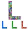 Mosaic font design - letter L vector image vector image