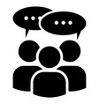 multi user icon with speech bubble a group of vector image vector image