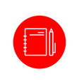 notebook and pen office outline red icon design vector image