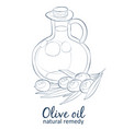 olive oil in bottle cartoon icon isolated vector image vector image