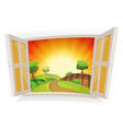 open window on a summer rural landscape vector image vector image
