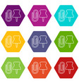 paper clip icons set 9 vector image