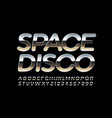 party poster space disco with metallic font vector image vector image