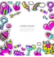 pop art girl fashion patches template vector image