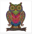 print beautiful decorative owl with a lot vector image