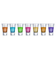 realistic detailed 3d shot glasses order set vector image vector image