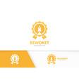 reward and rocket logo combination trophy vector image vector image