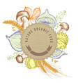 round paper emblem over autumn food hand drawn vector image vector image